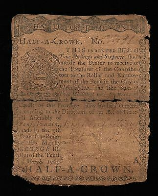 Pennsylvania Colonial Currency - March 10, 1769 -2 Shillings 6 Pence