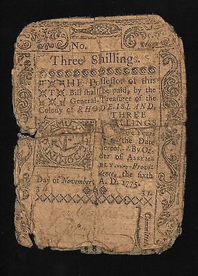 Rhode Island Colonial Currency - November 6, 1775 -3 Shillings