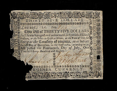 Virginia Colonial Currency - July 14, 1780 -$35