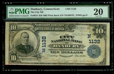 1902 Usa $10  City National Bank Of Danbury Connecticut #1132 Pmg Very Fine 20