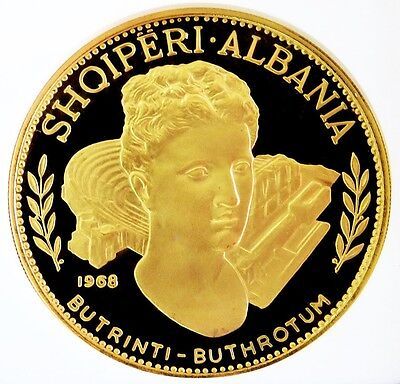 1968 Gold Albania 200 Leke Ancient Buthrotum Ruins Ngc Proof 67 Ultra Cameo