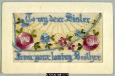 WWI French Embroidered Silk pocket, Flowers - To My Dear Sister