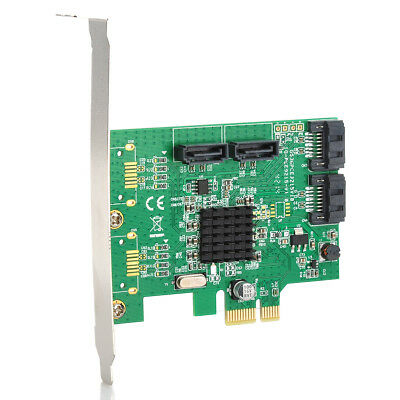 Green FR4 SATA III (6Gbps) 4-Port PCI-Express Controller Card w/Cable/Driver CD