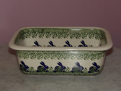 Genuine Hand Made Polish Pottery Loaf Pan! Bunny Pattern!