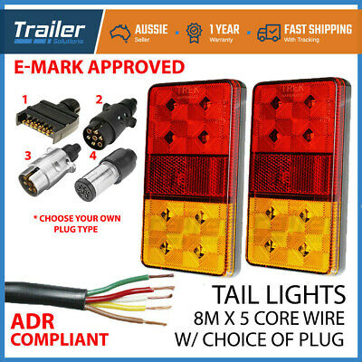 Pair Of Led Trailer Lights, 1 X Plug, 8M X 5 Core Wire Kit Rewire Complete