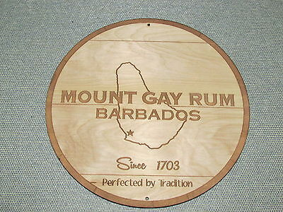 MT GAY BARBADOS Rum Wood Sign barrel top style Wall Sign Man Cave
