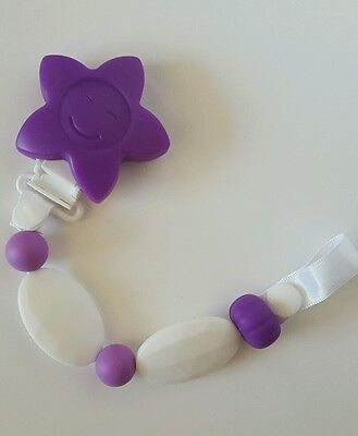 Silicone Bead baby Pacifier, Teething, Soother Clip Holder Purple, Boy Girl