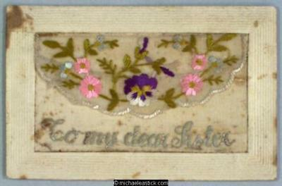 WWI French Embroidered Silk pocket, Pansies - To My Dear Sister