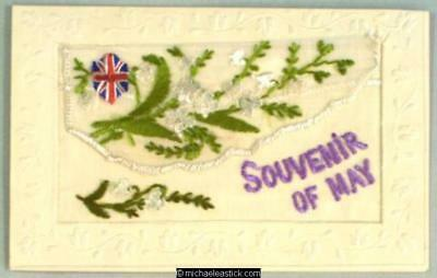 WWI French Embroidered Silk pocket, Flowers & Union Jack - Souvenir of May