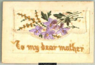 WWI French Embroidered Silk pocket, Flowers - To My Dear Mother