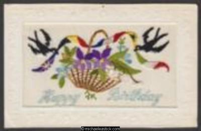 WWI French embroidered silk card - Happy Birthday