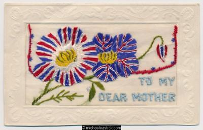 WWI Embroidered Silk, Flag Flowers Envelope