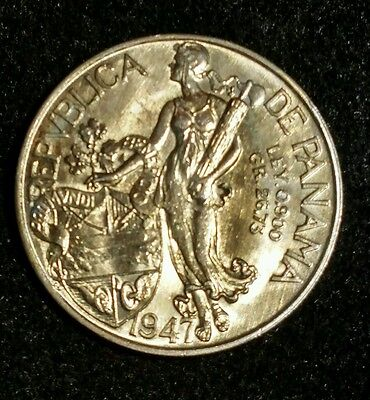 Rare Semi Date: 1947 Panama Balboa Low Mintage, High Grade Lustrous Silver Crown
