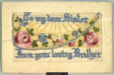 WWI French Embroidered Silk pocket postcard, Pansies