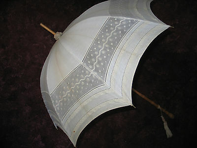 Antique Parasol~Umbrella Off White~Embroidery & Lace Knotted Bamboo Handle