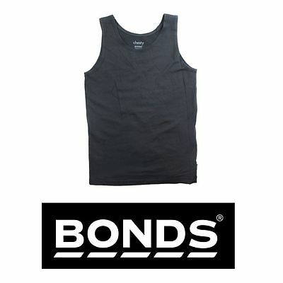 4 x BONDS KIDS BOYS BLACK SINGLET MULTI PACK STRETCHIE CHESTY VEST UNDERWEAR