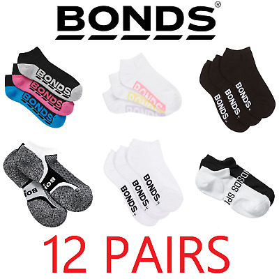 *CHEAP* 12 PAIRS x WOMENS BONDS LOW CUT ANKLE SPORTS SOCKS - ASSORTED COLOURS!