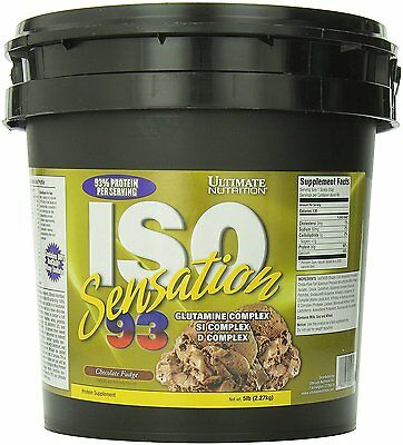 ULTIMATE NUTRITION ISO SENSATION 93 (5 LB) whey protein isolate glutamine powder