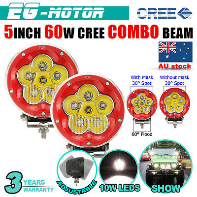 """2pcs 5""""inch 60W Red CREE LED Spot Flood Work Driving LIGHT Offroad Lamp ATV Jeep"""