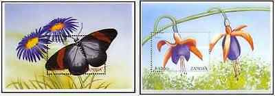 Timbres Flore Papillons Zambie BF66/7 ** année 1999 lot 18924
