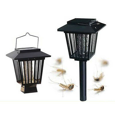 Waterproof Solar Insect Pest Bug Mosquito Killer Zapper Lamp Garden Lawn Light