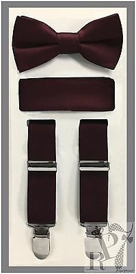 Dark Burgundy NEW Boy's Clip Suspender Bow tie & Pocket Square 3 pieces set