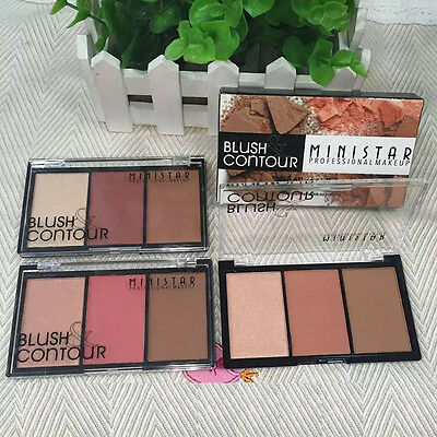3 Couleurs Set Maquillage Poudre Glow Contour Kit Bronzer Highlighter Palette