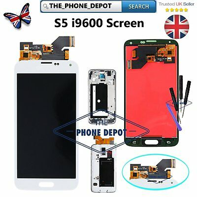 For Samsung Galaxy S5 i9600 G900F LCD White Frame Digitizer Touch Screen