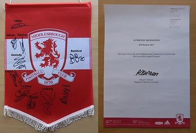 2016-17 Middlesbrough Squad Signed Pennant with Official COA (10212)