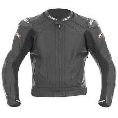 RST 1068 R-16 Motorcycle Motorbike Leather Armoured Double Stitch Jacket - Black