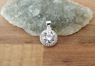 925 Sterling Silver - Lovely Pendant with Single CZ & Small CZ Crystals Halo