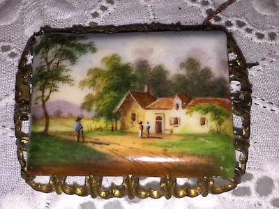 Antq Hand Painted Porcelain Landscape Country Scene Enamel Cameo Brooch Pendant