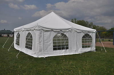 20 X 20 White Canopy Pole Tent Economy Party Event Tents 4 Sidewalls - SALE!