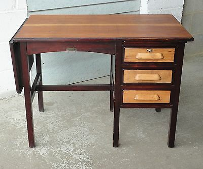 Antique Cookes Of Finsbury Office Writing Desk Lock & Key, Drawers & Drop Leaf