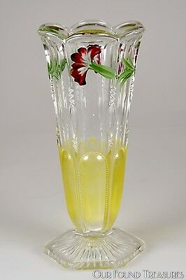 "c. 1902 No. 15077 MICHIGAN by U.S. Glass CRYSTAL w/Enameled Deco 8"" H Vase"
