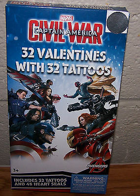 Valentines Day Cards (Box of 32) Marvel Captain America Civil War with Tattoos