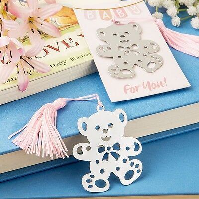 100 Lovable Silver Metal Girl Teddy Bear Bookmark Shower Gift Party Favors