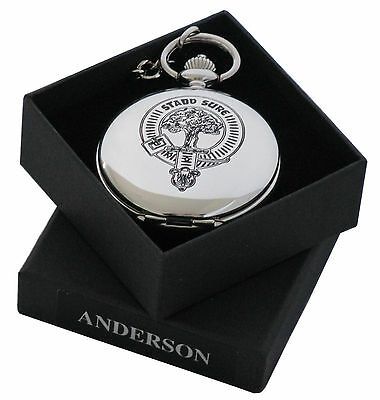 Clan crest engraved Pocket Watch in Gift Box - 50+ crests A-MacD