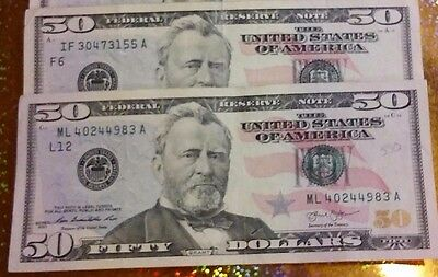 $50 Dollar Bills - Lot of TWO! Circulated US Currency Federal Reserve Note