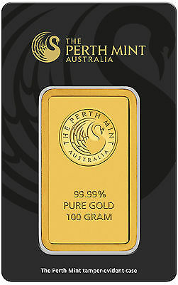 100 gram Perth Mint Gold Bar 99.99 Fine in Assay
