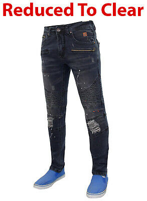 New Mens Jacksouth Stretch SLIM Fit Denim Ripped Paint Stain Bikers Jeans