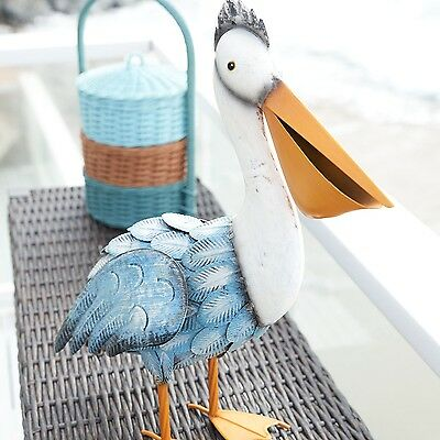 Iron Pelican Statue Indoor Outdoor Standing Decor Coastal Seaside Beach