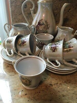 Vintage Antique  Porcelain Lusterware Coffee Set Made In Yugoslavia