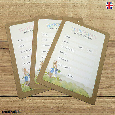 Personalised Peter Rabbit Baby Shower Game Prediction Cards - Pink, Blue Neutral