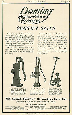 Large 1912 Deming Hand And Power Water Pump Pumps Ad Advertisement Salem Ohio