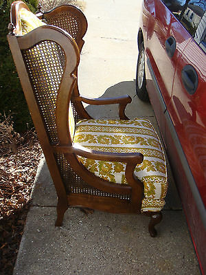 Mid Century King Caned Wingback Chair High Back Vtg Hollywood Regency henredon?