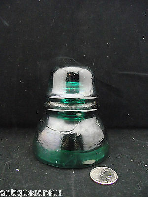 """Antique  Brookfield  Nsulator 4""""   Green With Wire Bruise"""