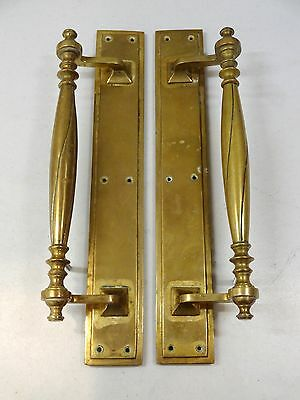 "1st PAIR 15"" HEAVY CAST BRASS EDWARDIAN DOOR PULL HANDLES PLATES KNOBS GRAB"