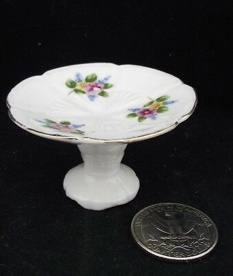 Miniature Doll House Size Footed Cake Plate With Floral Pattern Staffordshire ?