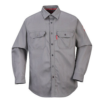 Portwest Gray Flame Resistant Bizflame 89/12 Work Shirt NFPA 2112